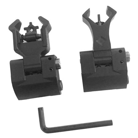 2Pcs Premium Tactical Diamond Aperture Flip Up Front Rear Iron Sights Set by (Sporting Rear Sight)