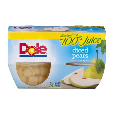 Dole Diced Pears In 100  Juice   4 Ct