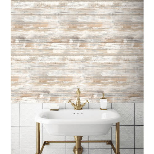 Roommates Distressed Wood Peel And Stick Wall Decor Wallpaper Walmart Com Walmart Com