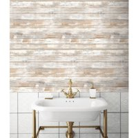 RoomMates Distressed Wood Peel and Stick Wall Decor Wallpaper