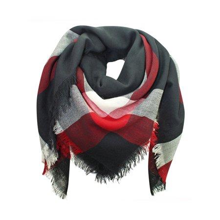 e9d22f220f444 Luxury Divas - Black White Red Wool Plaid Blanket Scarf - Walmart.com