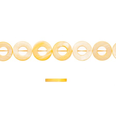 Shell Bead, Yellow(Dyed) Mother-Of-Pearl, Donut Plate, 17x17mm 16 Inch (Donut Plates)