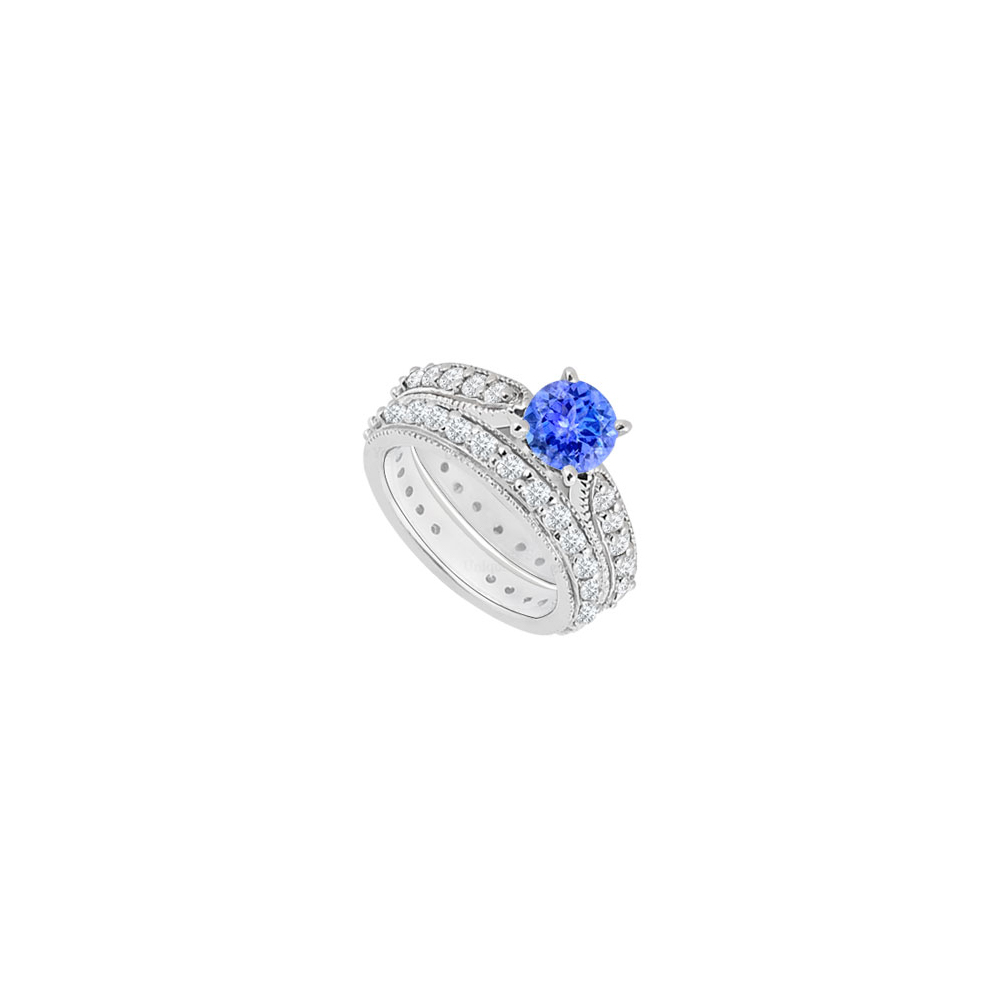 14K White Gold Created Tanzanite and Cubic Zirconia Engagement Ring with Wedding Band Set 1.25 C - image 2 of 2