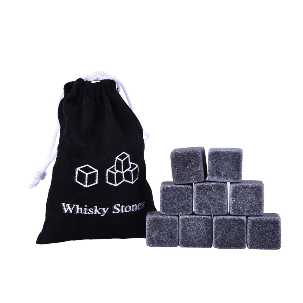 9 Pcs Whisky Ice Stones Wine Drinks Cooler Cubes Whiskey Rocks Granite Pouch MZ