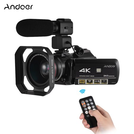 External Hood - Andoer AC3 4K UHD 24MP Digital Video Camera Camcorder DV Recorder 30X Zoom WiFi Connection IR Night Vision 3.1 Inch IPS LCD Touchscreen with Extra 0.39X Wide Angle Lens + Lens Hood + External Micropho