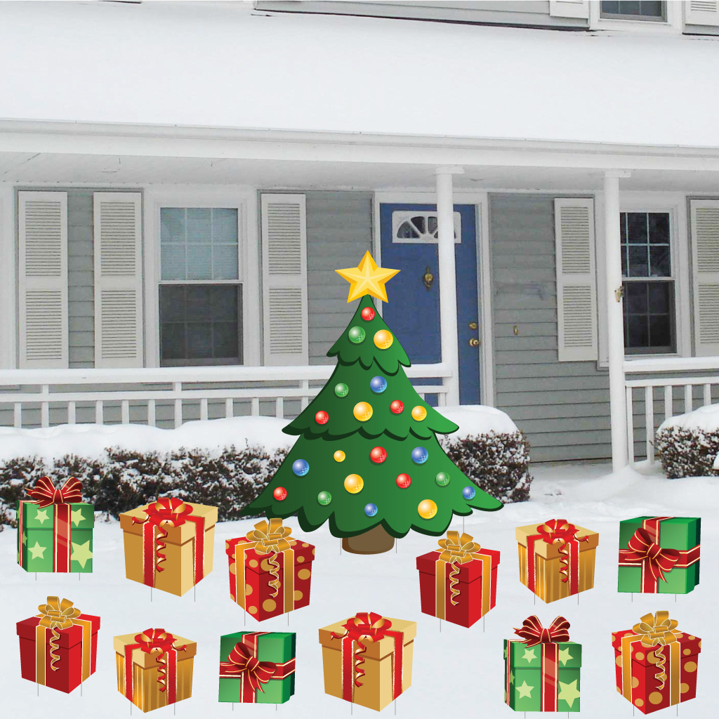 Christmas Tree With Presents Christmas Lawn Display 13 Pcs Total