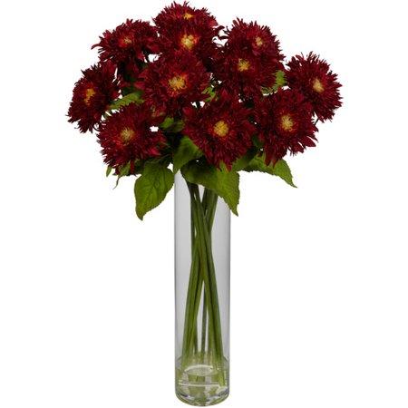 Sunflower with Cylinder Silk Flower Arrangement, Red Red Trumpet Flower