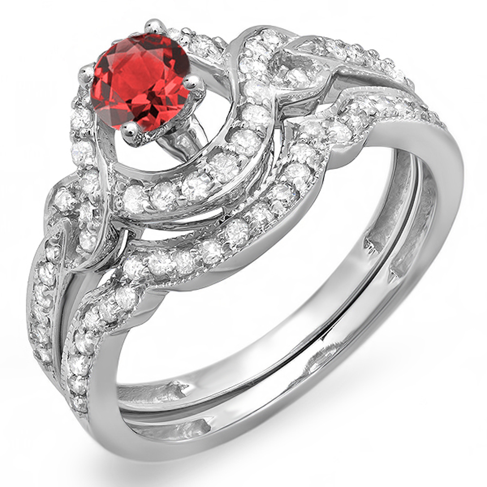 0.75 Carat (ctw) 18k White Gold Red Ruby And White Diamond Swirl Bridal Halo Engagement Ring Set 3 4 CT by DazzlingRock