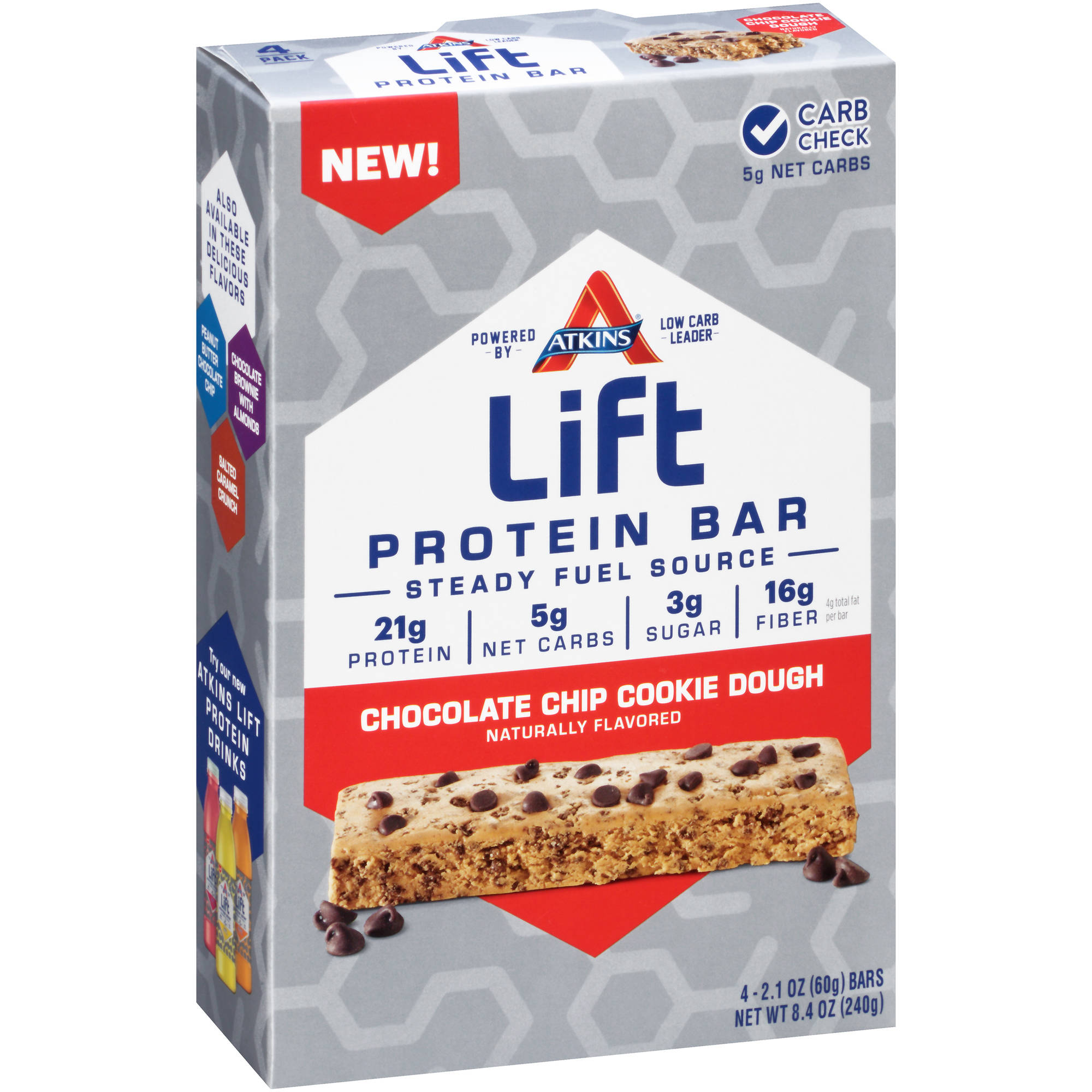 Atkins Lift Chocolate Chip Cookie Dough Protein Bars, 2.1 oz, 4 count