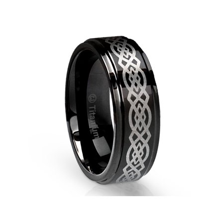 Mens Wedding Band in Titanium 8MM Ring Black with Celtic