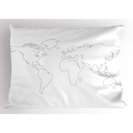 Map Pillow Sham Simplistic Design World Map Outline with Thin Black Line Drawing Abstract Continents, Decorative Standard Queen Size Printed Pillowcase, 30 X 20 Inches, Black White, by Ambesonne