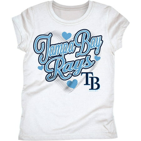 MLB Tampa Bay Rays Girls Short Sleeve White Graphic (Reyes Baseball)