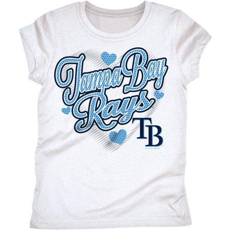 MLB Tampa Bay Rays Girls Short Sleeve White Graphic Tee