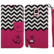 Galaxy Note 4 Case, SOGA® PU Leather Magnetic Flip Design Wallet Case for Samsung Galaxy Note 4 - Pink Chevron