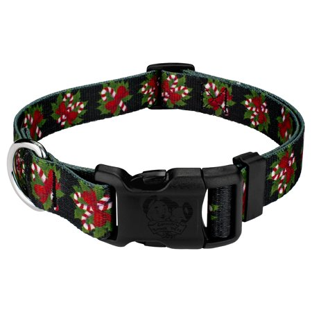 Country Brook Design® Deluxe Black Candy Cane Dog Collar - Black Candy Canes