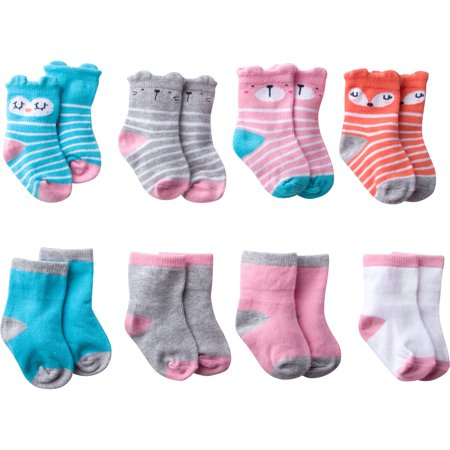Gerber Baby Girl Wiggle-Proof Jersey Ankle Bootie Socks, 8-pack