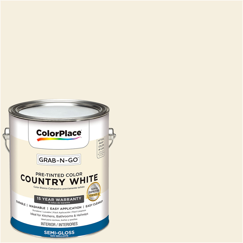 ColorPlace Pre Mixed Ready To Use, Interior Paint, White, Semi-Gloss Finish, 1 Gallon by Generic