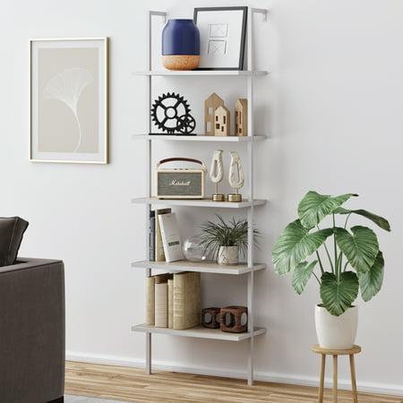 Theo 5-Shelf Ladder Bookcase, Gray Oak Wood White Metal Frame ()