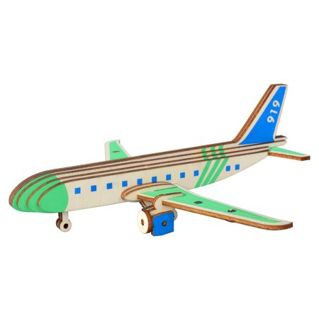 3d Wooden Puzzle Airplane (27 Pieces Passenger Airplane Model Kit - Wooden Laser-Cut 3D Puzzle )