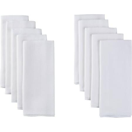 Gerber Baby Organic Cotton Flatfold Birdseye Reusable Cloth Diapers, 10-pack