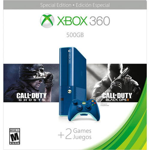Image of Refurbished Xbox 360 500GB Special Edition Blue Console Bundle with Call of Duty Ghosts and Call of Duty Black Ops 2 - Walmart Exclusive