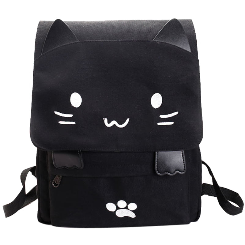 Canvas Backpack,Coofit Cartoon Cute Cat Casual Backpack Laptop Backpack School Travel Black Backpack Bag for Student... by Coofit