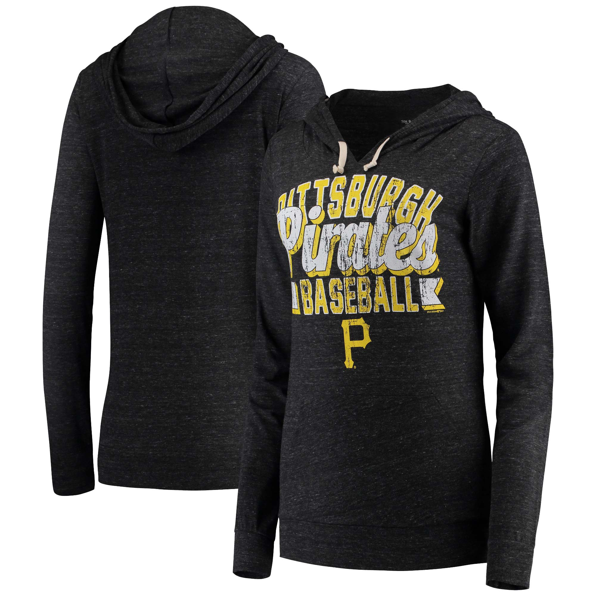 Pittsburgh Pirates 5th & Ocean by New Era Women's Jersey Tri-Blend Pullover Hoodie - Black