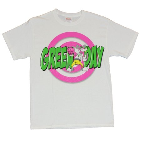 Green Day Mens T-Shirt  - Cartoon Rat with Heart Grenade Image on White
