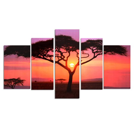 Grtsunsea M.Way 5Pcs Frameless Canvas Prints Pictures Sunset Tree Modern Unframed Painting Home Decor Wall Art Sticker (Larger than 36*35.5inch) ()