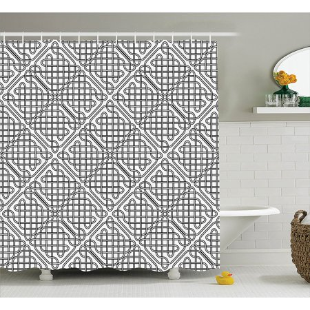 Groovy Celtic Decor Shower Curtain Set By Medieval Irish Striped Binding Square Shaped Patterns Old Fashion Dated Artsy Grid Print Bathroom Accessories Interior Design Ideas Apansoteloinfo
