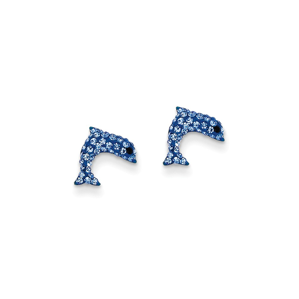 14k Yellow Gold Crystal Blue Dolphin Post Stud Earrings. (9MM)