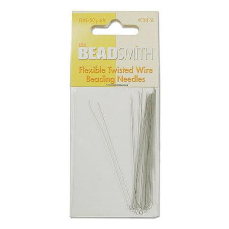 BeadSmith Beading Needles, Flexible Twisted Wire FINE, 50 Pack (Hard Beading Needle)