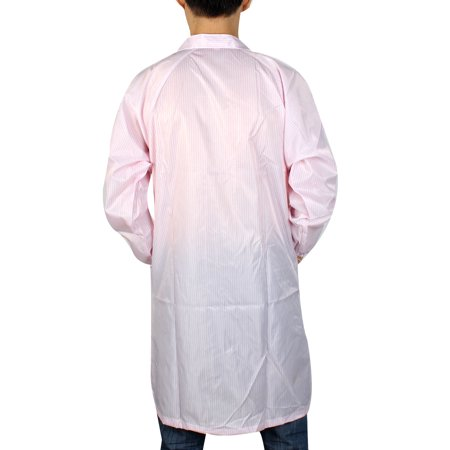 Long Sleeve Lapel Collar Button Down Stripes Pattern Clean Room Anti Static Overalls Coat Pink L/M(US 40) - image 1 de 2