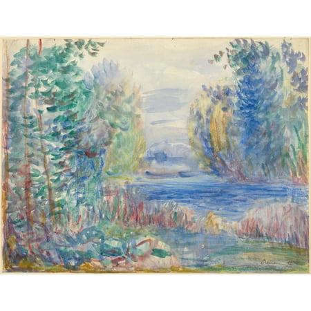 River Landscape 1890 Poster Print by Pierre Auguste Renoir