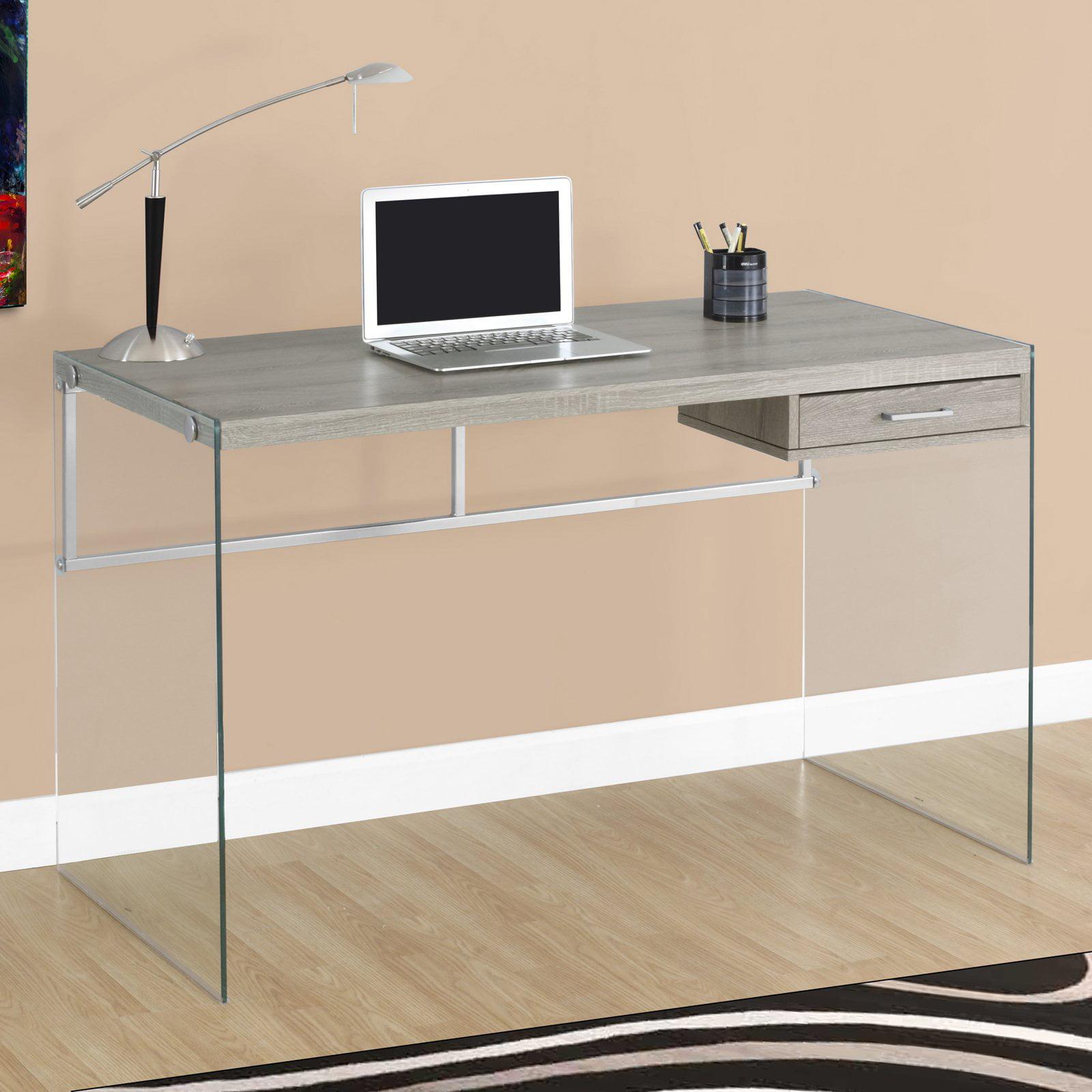 glass computer desks - monarch computer desk l  glossy white  tempered glass