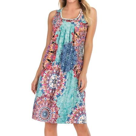 Embellished Dresses Clearance (Nlife Women's Round Neck Sleeveless Boho Print Pleated Embellished)