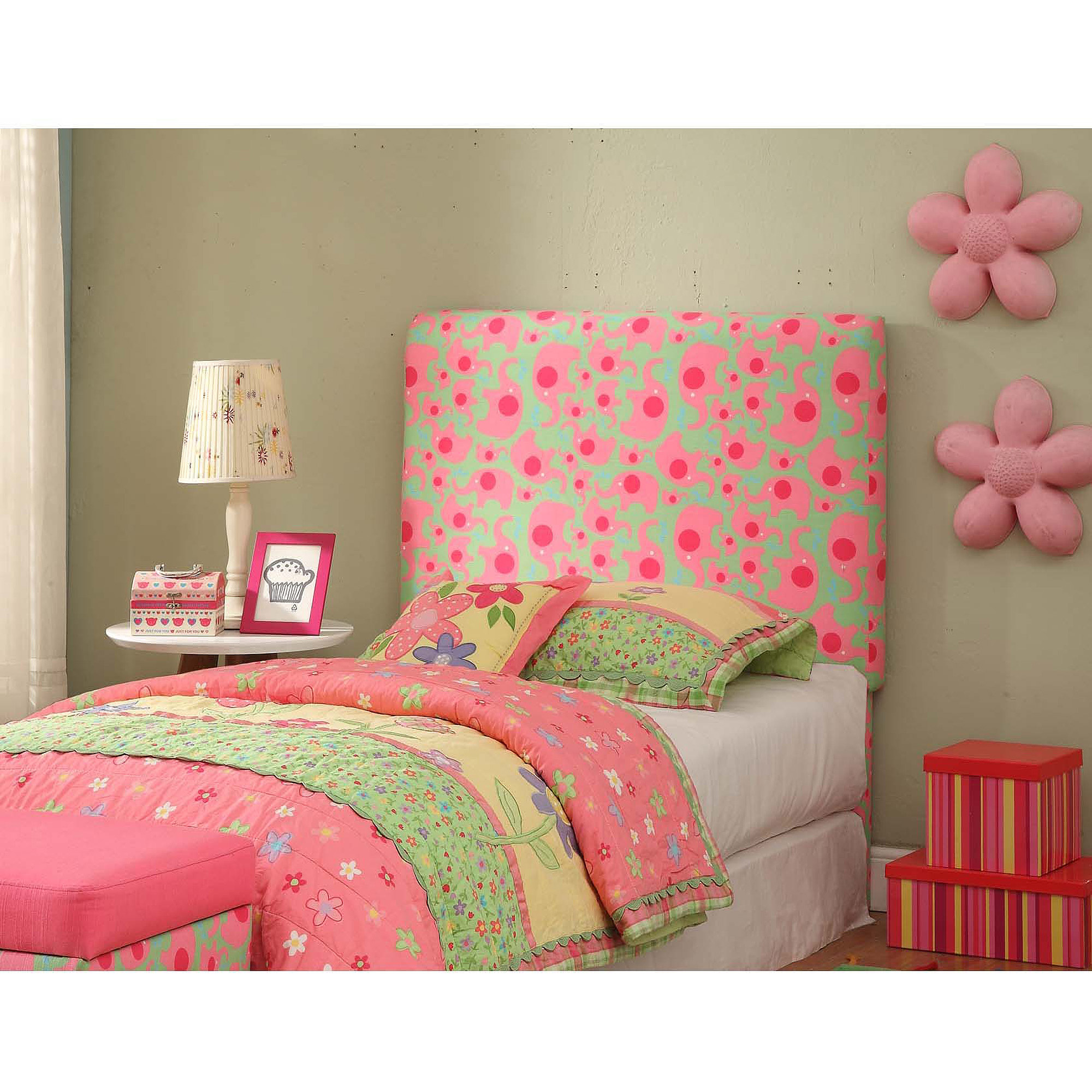 Twin Headboard, Pink Elephants