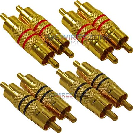 High Quality Male to Male Barrel Gold Audio RCA Coupler Connector Plug (8/pack)