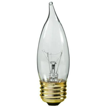 (25 Watt - CA10 - Clear - Bent Tip - 5000 Life Hours - 210 Lumens - 130 Volt - 81261 By PLT)