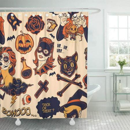 PKNMT Helloween Halloween Cat Mask Bat Candy Cartoon Cemetery Character Waterproof Bathroom Shower Curtains Set 66x72 inch](Helloween Halloween Mp3)