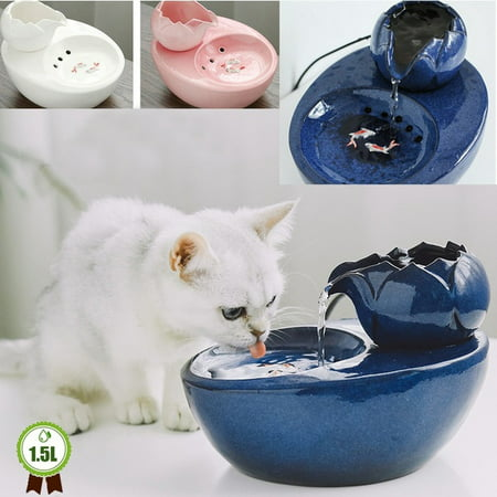 Cat Ceramic Water Fountain Automatic Pet Drinking Fountain Electric Dog Water Dispenser with Fish Ultra Quiet Water Bowl for Cats and