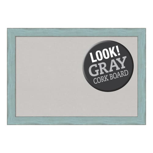 Amanti Art Sky Blue Rustic Framed Cork Board