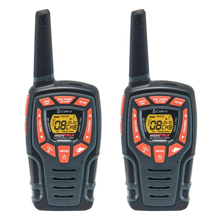 Cobra Cxt-565 32-Mile 2-Way Radios Walkie Talkies, 2-Pack with Drop In Charger, Weather and Emergency Radio