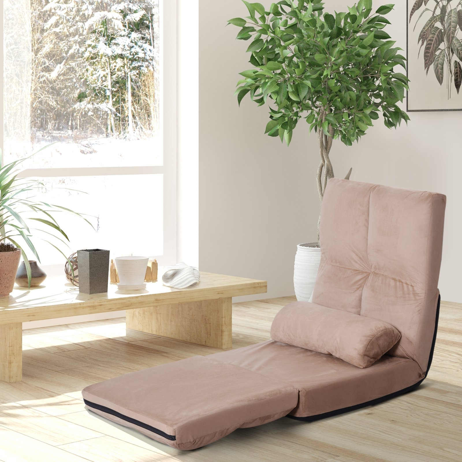 11-Position Floor Lazy Sofa Chair Adjustable Folding Couch Video