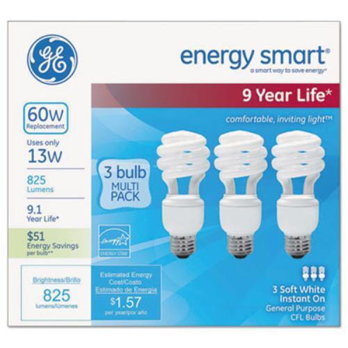 Sli Lighting 97689 Energy Smart Spiral Cfl, 13 Watt, T3 Spiral, 3/pack