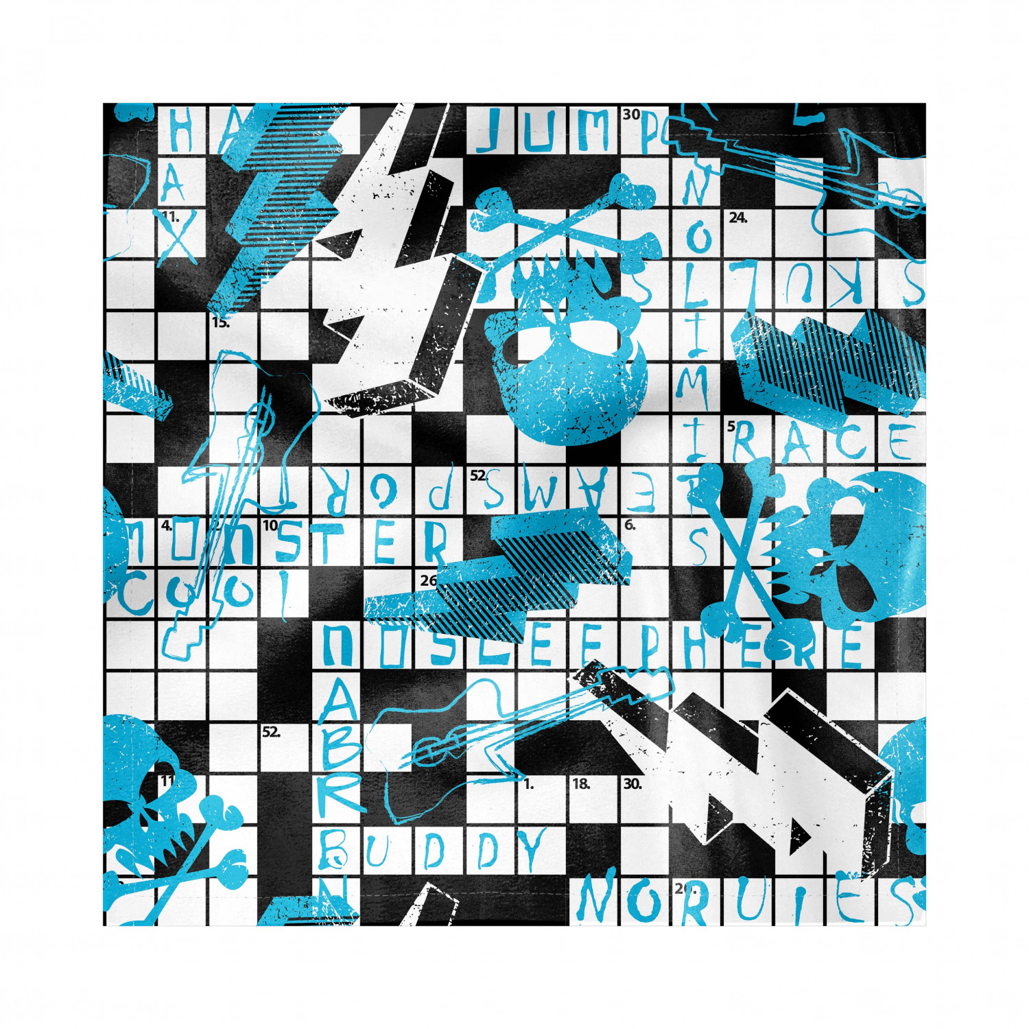 Retro Decorative Napkins Set Of 4 Crossword Puzzle Theme With Skulls Thunder Bolts Grunge Style Illustration Silky Satin Fabric For Brunch Dinner Party 18 Blue Black And White By Ambesonne Walmart Com