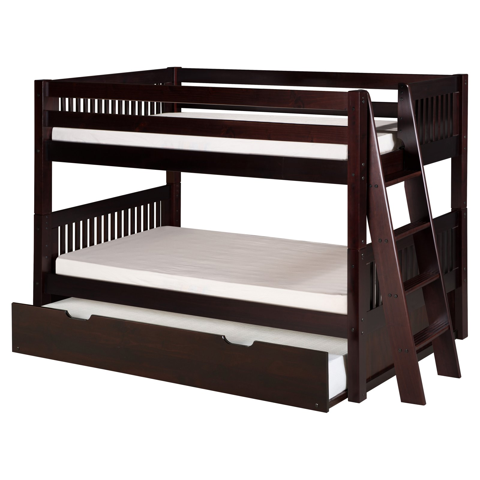 Camaflexi Twin over Twin Low Bunk Bed with Twin Trundle - Mission Headboard - Lateral Angle Ladder - Natural Finish