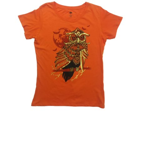 Womens Orange & Gold Mandala Print Owl Halloween Tee Full Moon Bird T-Shirt - Coloriage Mandalas Halloween