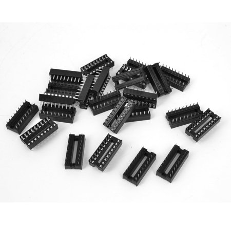 Unique Bargains 25 Pieces 2.54mm Pitch 18 Pins Double Row DIP IC Socket Adapter -