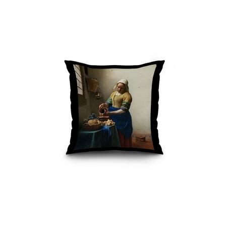 Adult Milkmaid (The Milkmaid - Masterpiece Classic - Artist: Johannes Vermeer c. 1660 (16x16 Spun Polyester Pillow, Black)
